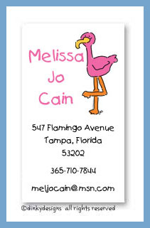Sylvester the flamingo calling cards, personalized