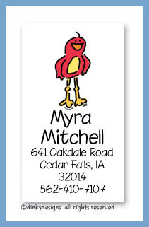 Frankie the red bird calling cards, personalized