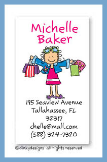 Shopper Jane calling cards, personalized