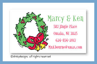 Christmas wreath calling cards, personalized