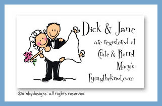 Bridal dick and jane calling cards, personalized
