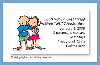 Baby, dick and jane calling cards, personalized