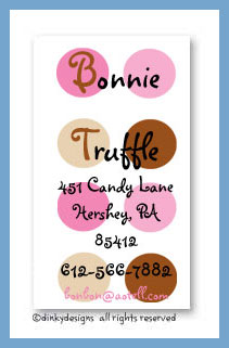 Bon bon dots calling cards, personalized