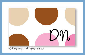 Bon bon dots calling cards on pre-printed cardstock, personalized