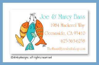 Hook, line & sinker calling cards, personalized