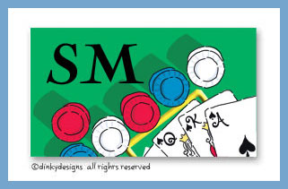 Texas hold 'em calling card stickers on pre-printed cardstock, personalized