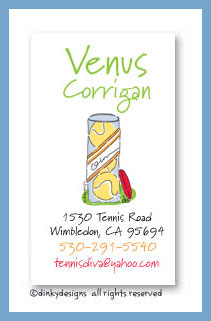 Can of tennis balls calling cards, personalized