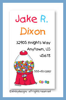 Goodie, goodie gumballs calling cards, personalized