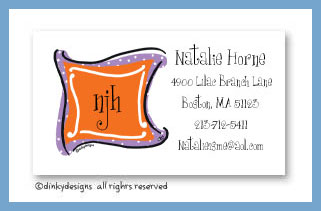 Grape n' orange monogram calling cards, personalized