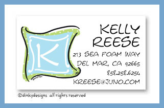 Blue green monogram calling cards, personalized
