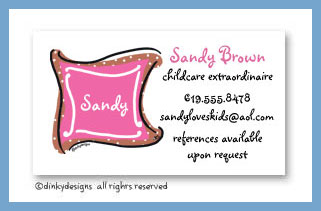 Chocolate pink taffy monogram calling cards, personalized