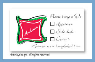 Holiday monogram calling cards, personalized