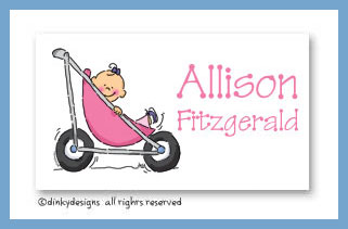 Stroller rides - girl  calling cards, personalized