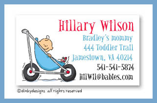 Stroller rides - boy calling cards, personalized