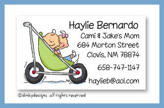 Stroller rides - boy/girl calling cards, personalized