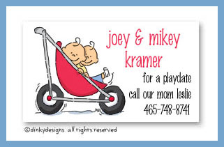 Stroller rides - boy/boy calling cards, personalized
