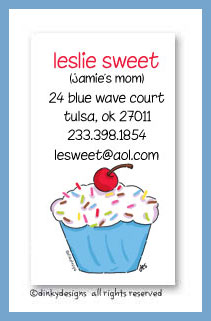 Cupcake treat calling cards, personalized