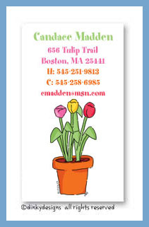 Potted tulips calling cards, personalized