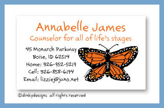 Monarch-y calling cards, personalized