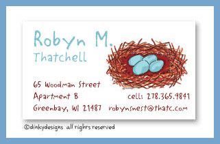 Robin's nest calling cards, personalized