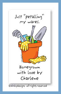 Garden tools calling cards, personalized