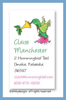 Humming bird calling cards, personalized