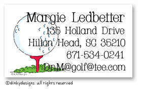 Tee'd off calling cards, personalized