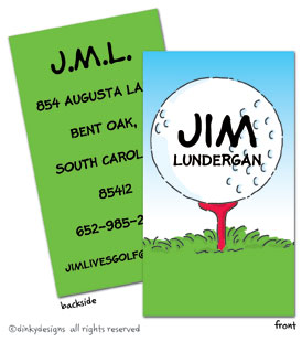 Tee'd off calling cards on pre-printed cardstock, personalized