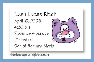 Barney bear calling cards, personalized