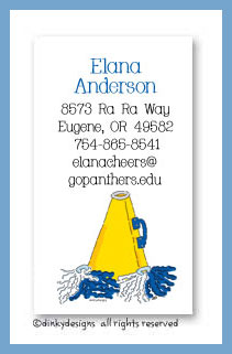 Megaphone calling cards, personalized