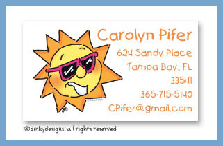 Party sun calling cards, personalized