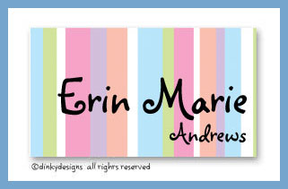 Pastel polka dots calling cards on pre-printed cardstock, personalized