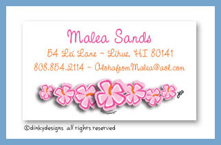 Tropicana string calling cards, personalized