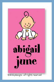 Baby steps - girl calling cards on pre-printed cardstock, personalized