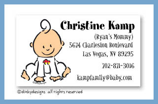 Baby steps - boy calling cards, personalized