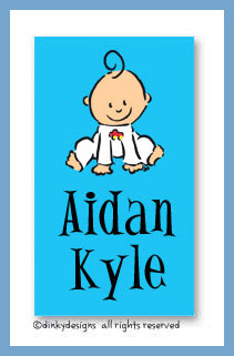 Baby steps - boy calling cards on pre-printed cardstock, personalized