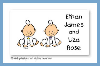 Baby steps - twins calling cards, personalized