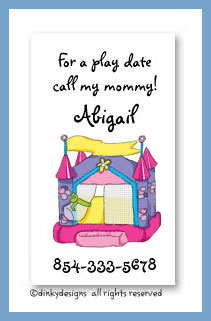Princess bouncy house calling cards, personalized