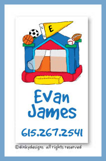 Sports fan bouncy house calling cards, personalized