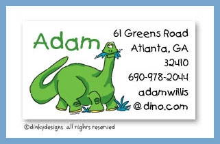 Green dinosaur calling cards, personalized