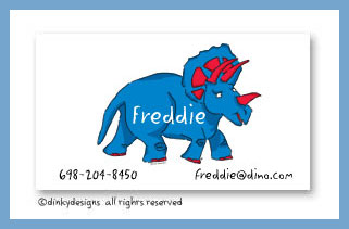 Blue dinosaur calling cards, personalized