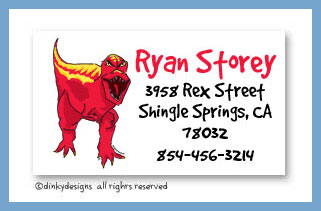 Red dinosaur calling cards, personalized