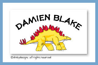 Yellow dinosaur calling cards, personalized