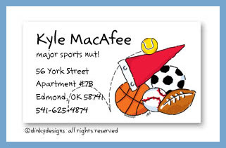 Sports fanatic calling cards, personalized