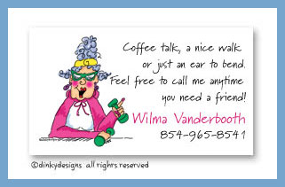 Workout Wilma calling cards, personalized