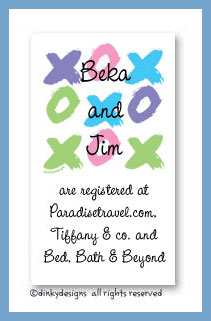 Tic-tac-toe calling cards, personalized