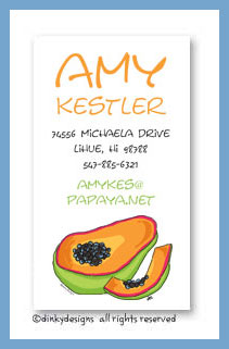Papaya calling cards, personalized