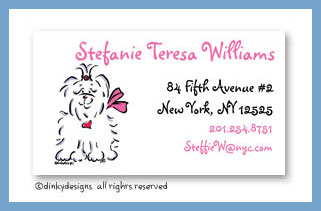 Tiffany the Maltese calling cards, personalized