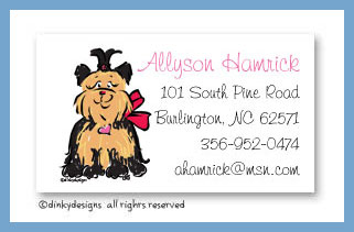 Sassy the Yorkie calling cards, personalized