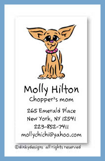 Chi-chi the Chihuahua calling cards, personalized
